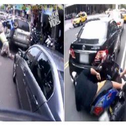 بالفيديو.. اسكوتر يصطدم بثلاث سيارات