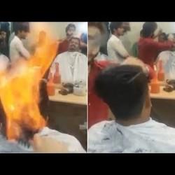 شاهد.. الطريقة الغريبة لحلاق شعر